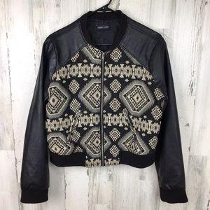 New Look Black Faux Leather Moto Aztec Jacket